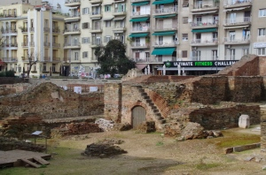 Ruins in the middle of the city! Thessaloniki, Greece.